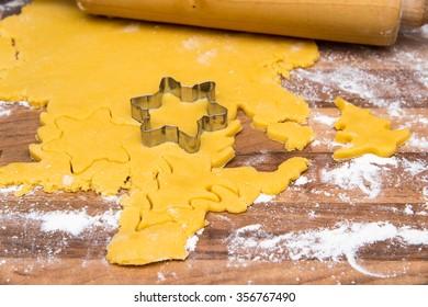 Shortcrust baking cookies for Christmas
