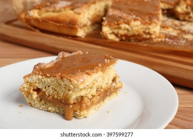 Shortcrust pastry cake covered with fudge caramel cream. Mazurek, Poland.