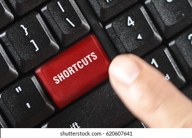 SHORTCUTS word on red keyboard button
