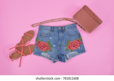 Shorts embroidered,rose flowers Jeans,shoes., handbag –pink background