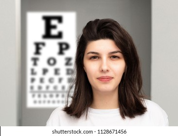 Short-sighted girl in a optician studio for a medical check-up