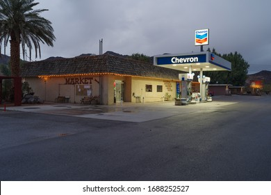 SHOSHONE, CA/USA - MARCH 19, 2020: market, gas station, and inn in the town of Shoshone along highway 127, south of Death Valley National Park.