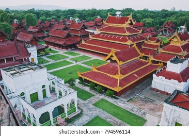 Shot from above of Mandalay Palace, Myanmar