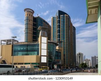 Shot of Abu Dhabi city Al Wahda Mall on a cloudy day- Abu Dhabi, UAE - October 31, 2018: