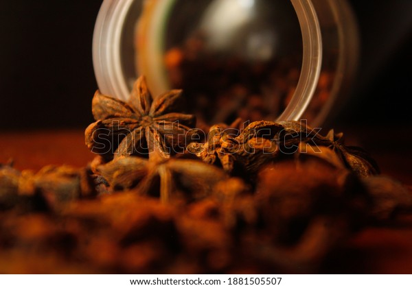 Shot of an array of different spices.