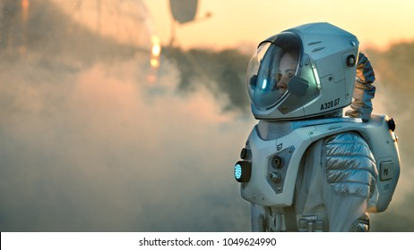Shot of the Astronaut On Mars Walking Toward His Base/ Research Station, Looking Around. First Manned Mission To Mars, Technological Advance Brings Space Exploration, Colonization.