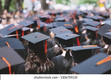 shot backside group crowd of graduation hats during commencement success graduates of the university, Concept education congratulation Student