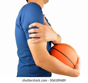 Shot of a basketball player with a shoulder injury isolated over white background