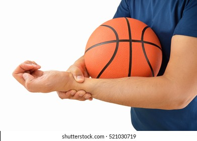 shot of a basketball player with a wrist injury isolated over white background