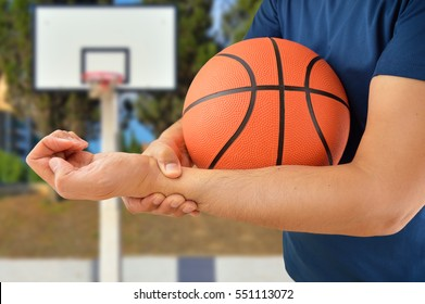 shot of a basketball player with a wrist injury at oudoors