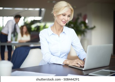 Shot of a beautiful businesswoman working on her laptop while sitting at office and business people working at background.