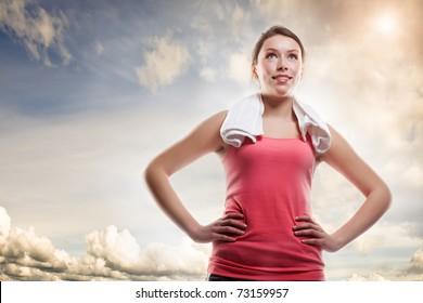 A shot of a beautiful sporty caucasian woman outdoor