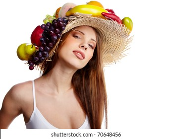 8c3f48ce40a Shot of a beautiful young woman with fruits headwear. Food concept