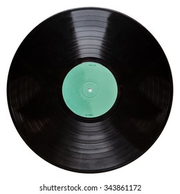 Shot of a black vinyl record isolated on white background