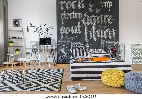 Shot Black White Bedroom Music Lover Stock Photo Edit Now 516049135
