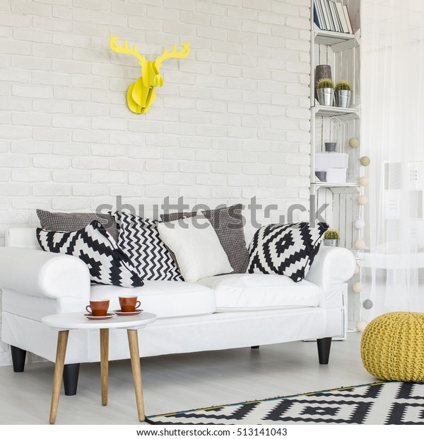 Shot Black White Living Room Yellow Stock Photo (Edit Now ...