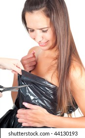 Shot of brunette woman in recycling dress