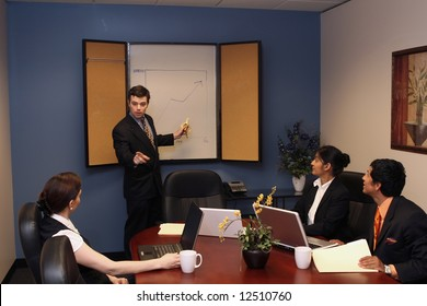 A shot of a businessman presenting in front of two businesswomen and one businessman.  His looking at the audience while pointing at the whiteboard with a banana.