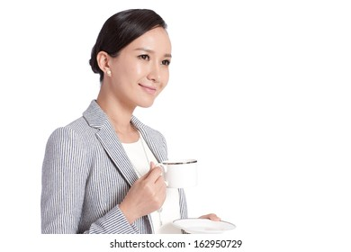 A shot of businesswoman drinking coffee