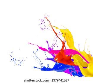 Shot of color paint splash, isolated on white background