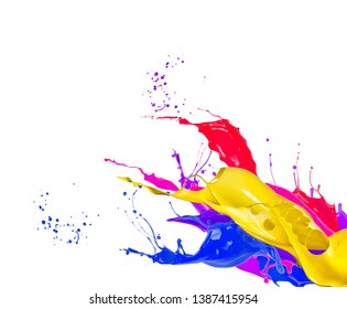 Shot of color paint splashes, isolated on white background