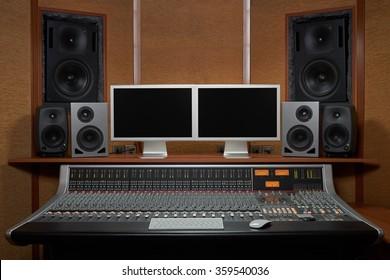 Shot of a control room in professional audio recording studio