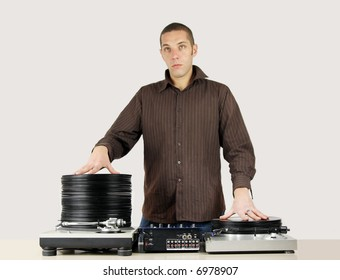 shot of cool funky young male dj