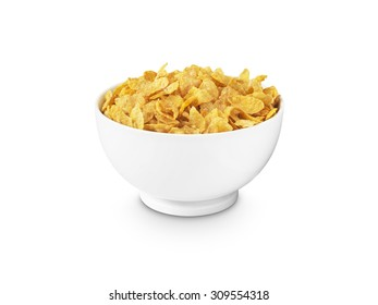 shot of corn flakes in a white breakfast bowl on a pure white background with a clipping path added.