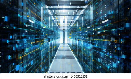 Shot of Corridor in Working Data Center Full of Rack Servers and Supercomputers with Internet connection Visualization Projection.