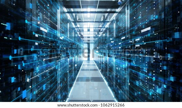 Shot of Corridor in Working Data Center Full of Rack Servers and Supercomputers with High Internet Visualisation Projection.