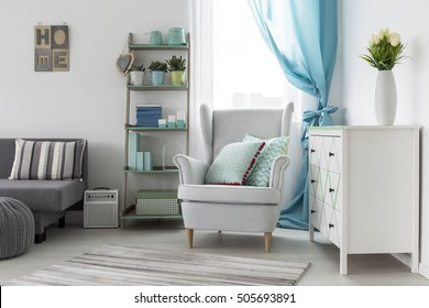 Shot of a cosy girl's room interior designed in bright tones