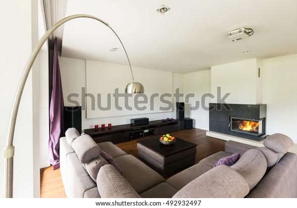 Shot Cozy Living Room Big Corner Stock Photo (Edit Now ...