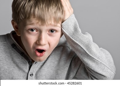 Shot of a Cute Young Child with a Silly Expression - Oh No!!!