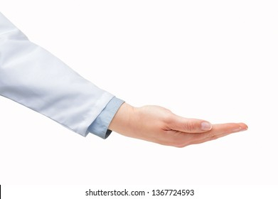 Shot of a doctor hand with palm up isolated on a white background
