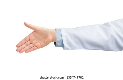 Shot of a doctor hand ready for handshake on a white isolated background