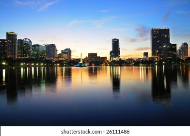 Shot of downtown Orlando from Lake Eola just after sunset