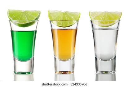 Shot drink set isolated on white