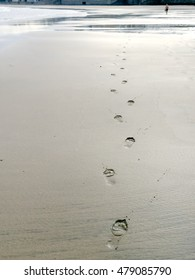 A shot of footprints on the sand of a beach at low tide and the figure of a man walking in the distance