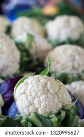 As shot fresh cauliflower photo at market place