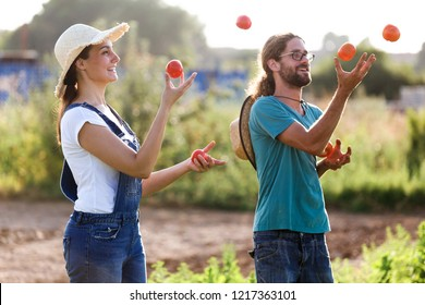 Shot of funny horticulturist couple playing and juggling with fresh tomatoes in the garden.