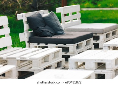 Shot of furniture made of pallets. Innovative and environmentally friendly way to decorate the yard.