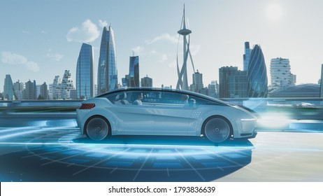 Shot of a Futuristic Self-Driving Van Moving on a Public Highway in a Modern City with Glass Skyscrapers. Beautiful Female and Senior Man are Having a Conversation in a Driverless Autonomous Vehicle.
