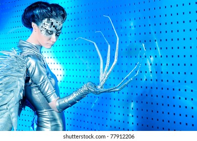 Shot of a futuristic young woman.
