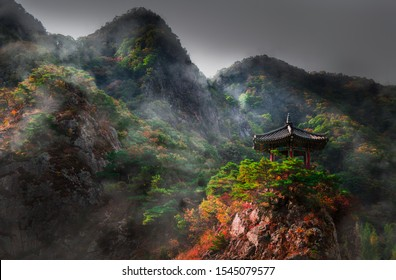 Shot of gazebo at Wollyubong mountain top and the river in Hwangsan-myeon South Korea