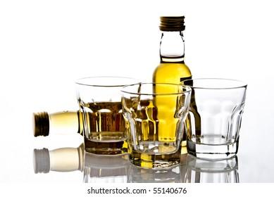 shot glasses and bottles