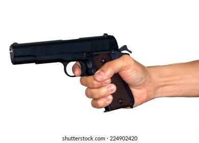 the shot gun in hand