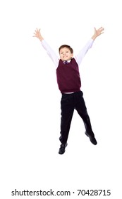 Shot of a happy jumping boy. Isolated over white background.