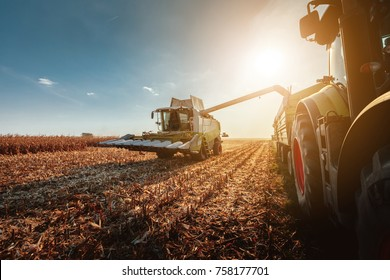 Shot of a harvester in the field