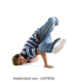 A shot of a hispanic male breakdancing