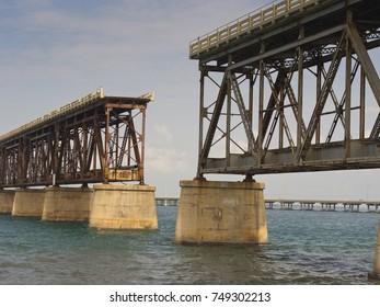 Shot of the historic Bahia Honda Rail Bridge in the Florida Keys.